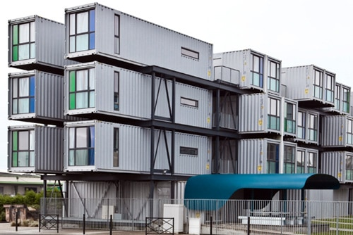 University dormatory shipping containers