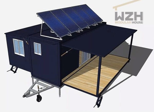 container home solar panels energy