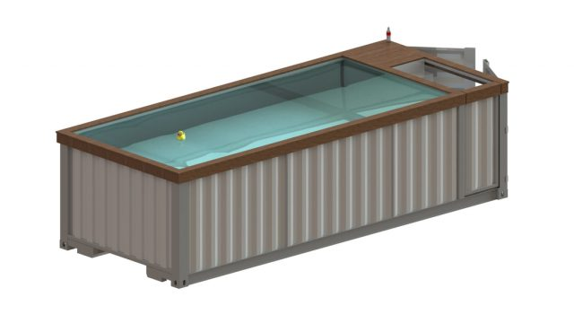 Above ground shipping container pool