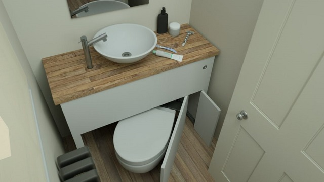 .Pull out toilet design