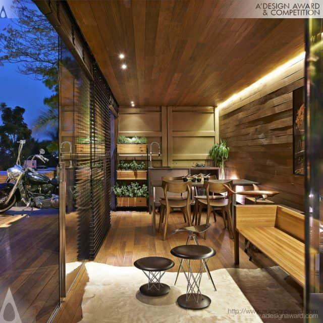 Wodd decorated living room container home