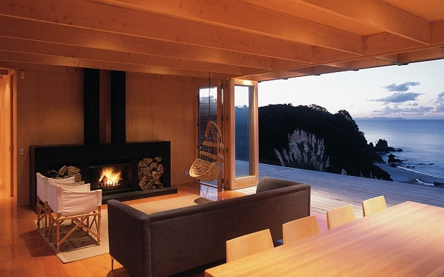 living room container house fireplace
