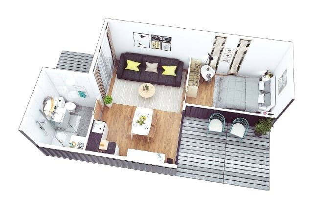 3D floorplan Shipping container house in UK