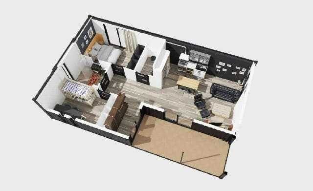3D floorplan shipping container home UK 1