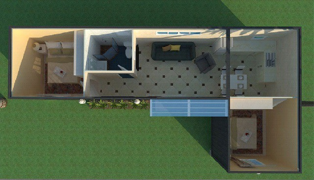3d plan cargo container house India