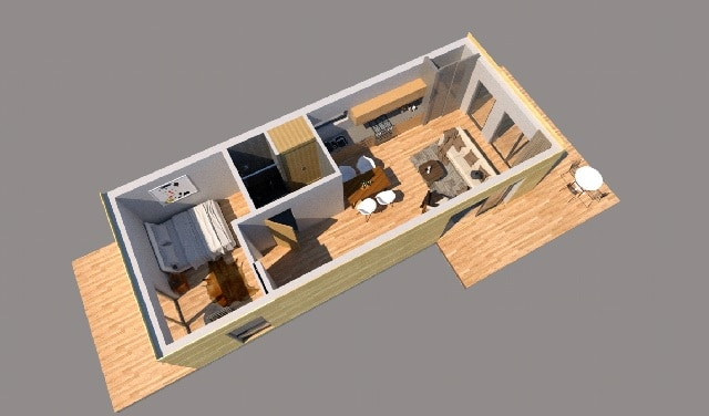 3d plan shipping container house california