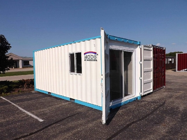 exterior of shipping container house US