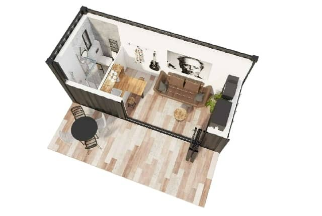 floorplan shipping container home UK