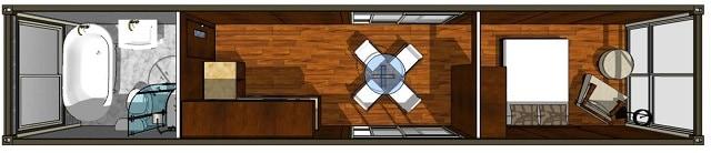 luxury studio container home florplan