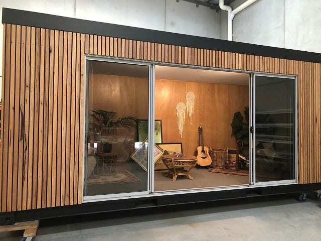 tiny container home wood plated