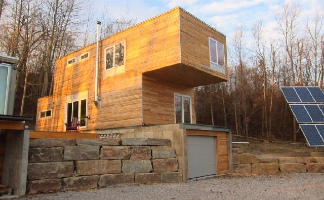 wood plated container home exterior Canada