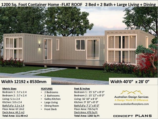 2 bedroom 2 bathroom shipping container home