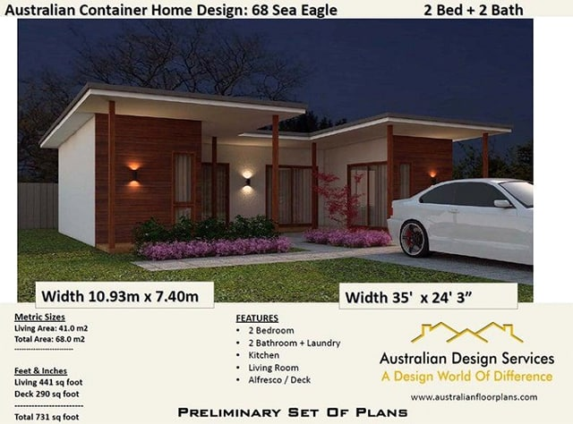 2 bedroom shipping container house plan