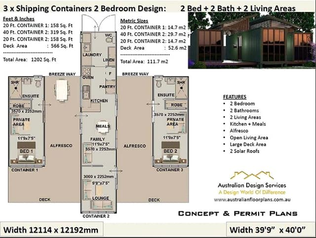 20 and 40 shipping containers home plan