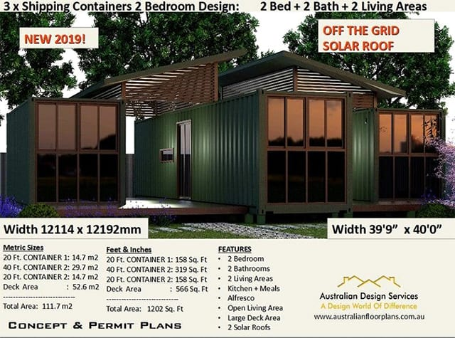 3 shipping containers home plan