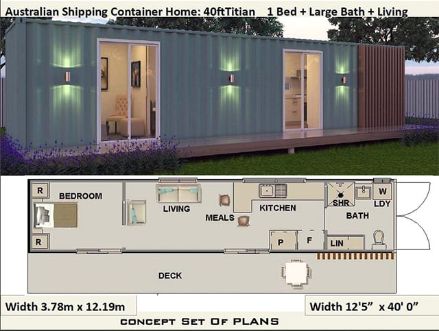 40 foot one bedroom shipping container home plan