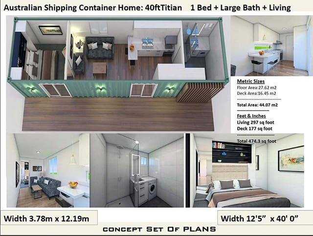 40 ft 1 bedroom shipping container home plan