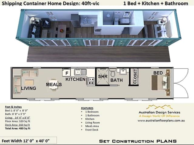 40 ft shipping container home plan
