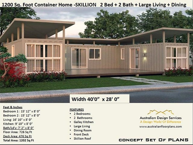 Container home plan with a skillion roof