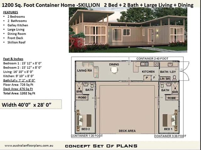 Shipping container home plan with a skillion roof