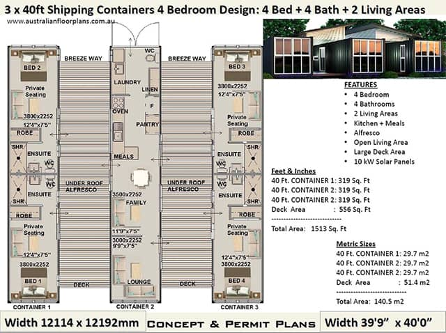 four bedroom shipping container home plan
