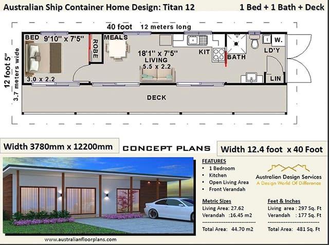 2 bedroom cargo container home floor plan