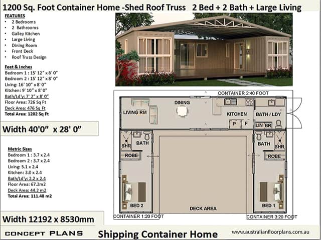 two bedroom container house plan