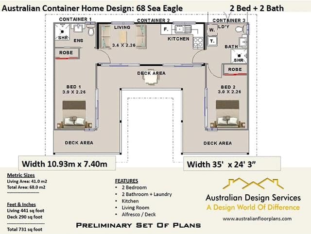 two bedroom container house plans