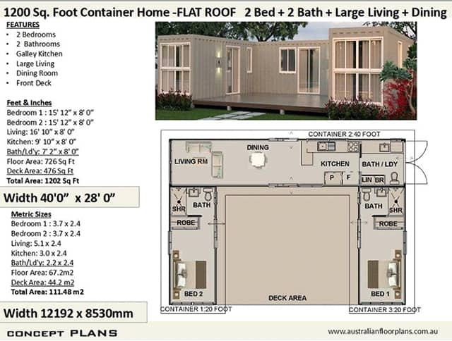 two bedroom two bathroom shipping container home