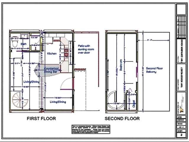 two storey container house plans