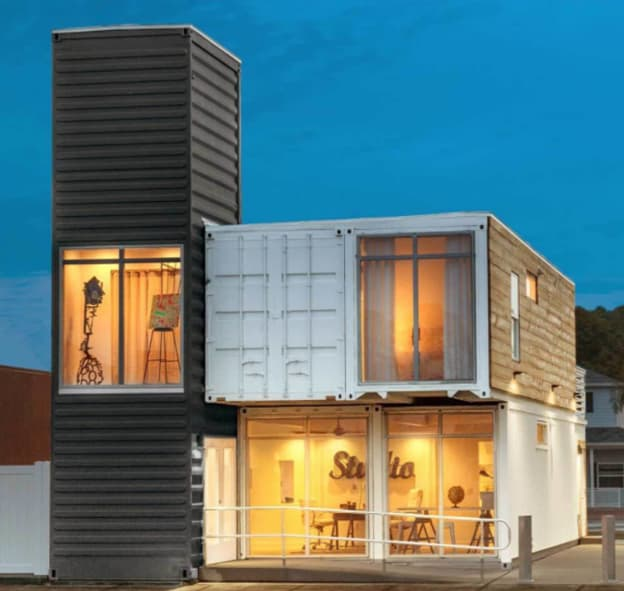 two level shipping container cabin