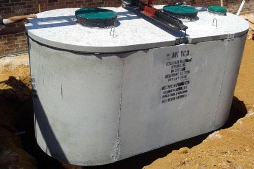 Precast concrete septic tank.