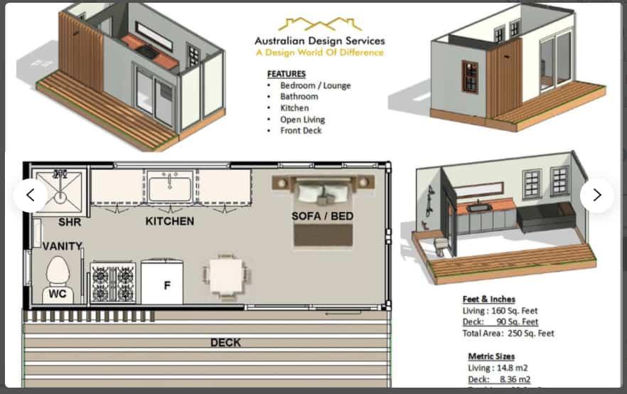 studio container home plan